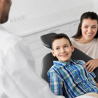 Mother and son at dentist