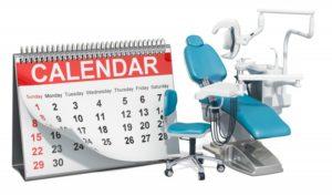 calendar next to a dental chair