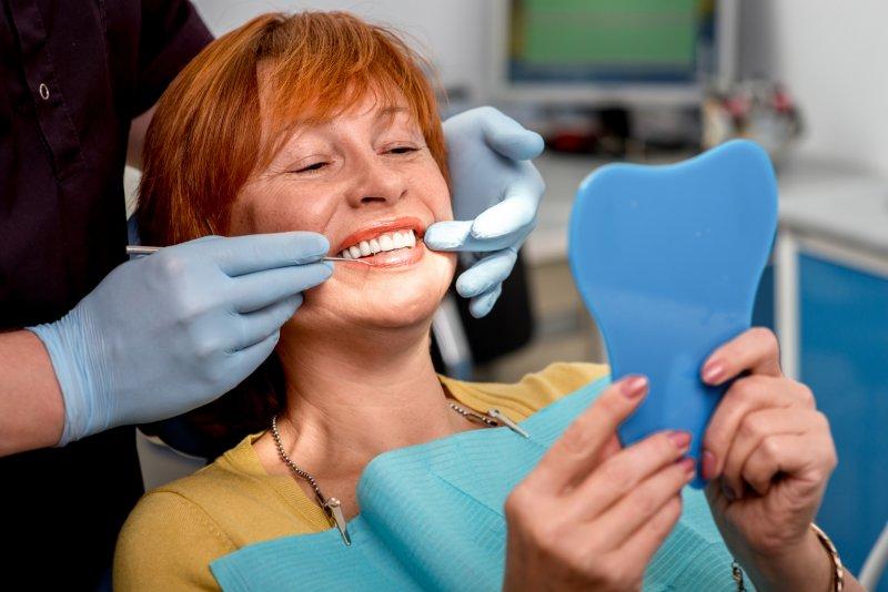 Woman with dental implants in Bellingham